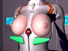 Sexy 3D hentai babe in a space suit screwing unfathomable and hard