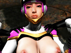 Large titted 3D hentai girlie in constricted fitting spacesuit gets jack hammered