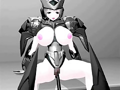 Large breasted hentai 3D space chick