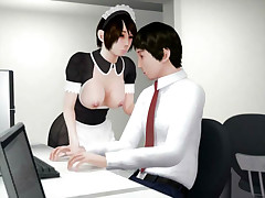 Big tits hentai 3D maid gets office quickie
