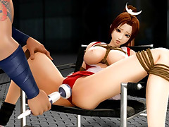 Bondaged 3D hentai babe aroused for a bang