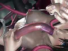 Coarse tentacle sex 3D hentai video