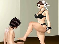 Hot 3D kung fu babe performes oral and works her front passage muscles