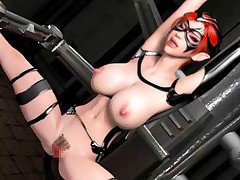 Bigtitted 3D hentai red-haired getting restrained and banged hard