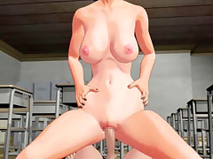 Titty 3D hentai babe rides on long rod in the empty classroom
