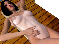 Naked 3D hentai babe exposing off tan lines