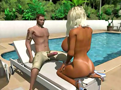 Heavily big tittied 3D platinum blondie getting doggy position by the pool