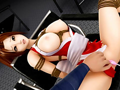 Hot 3D red head getting aroused in advance of a two way team bang