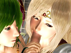 Fantasy 3D hentai beauties sharing one glad wang in FFM threesome action