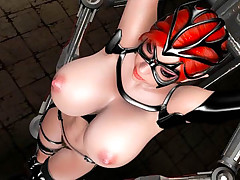 Masked 3D red head getting hard core banged